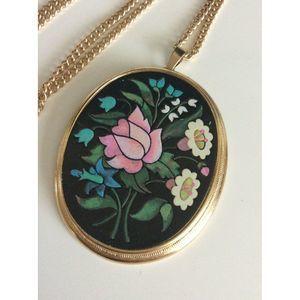 Avon Gold Tone Multi-Color Oval Long Necklace